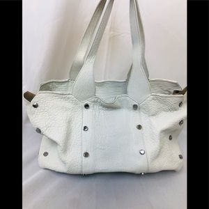 Jimmy Choo white grainy leather tote purse studded